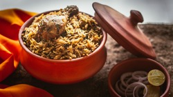 Indian traditional handi biryani food photography