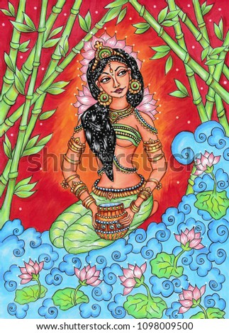 Indian traditional painting of woman in nature, Kerala mural style with beautiful ornamental background