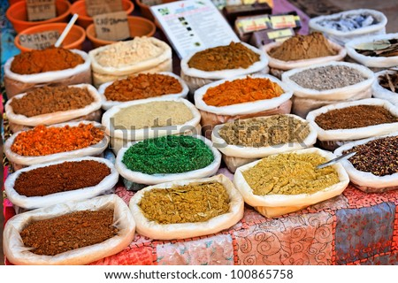 Indian traditional spices in the market