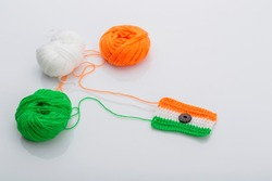 Indian Tricolor or Tiranga with wool for indian Republic and Independence day concept