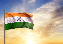 Indian tricolor waving Flag against sky
