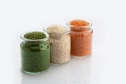 Indian Tricolour or Tiranga pulses for indian Republic and Independence day celebration in a glass container