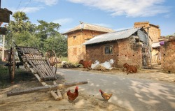 Indian village at Bolpur West Bengal with view of hand pulled cart with brick and mud houses and cows sitting by the roadside