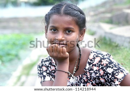 Indian Village Girl Posing to the camera