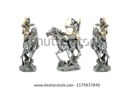Indian warriors on horses isolated on white. Native american indians warriors. Three indian warriors