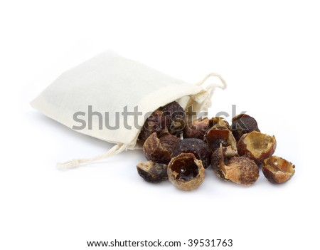indian washing nuts in canvas bag