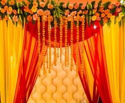 indian wedding decoration.indian wedding set, a mandap for hindu wedding celebration.