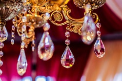 Indian wedding reception beautiful crystal chandelier close up