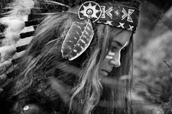 Indian woman hunter. Black and white portrait
