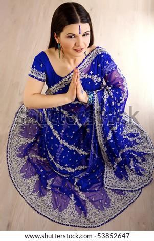 Indian woman with a beautiful blue sari