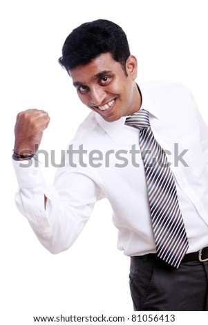 Indian young businessman enjoying the success on white background.