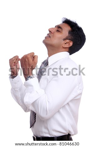 Indian young businessman praying on white background /Indian young businessman/Indian young businessman