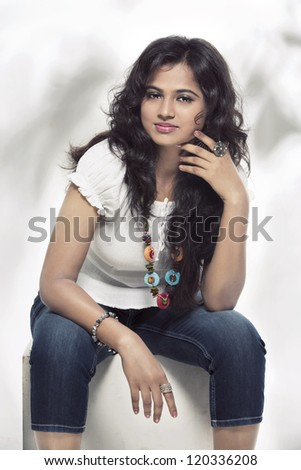 Indian young petty girl in modern dress.