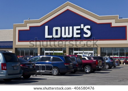 06838658e9 Indianapolis - Circa April 2016  Lowe s Home Improvement Warehouse. Lowe s  Helps Customers Improve the