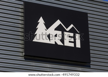 Indianapolis - Circa October 2016: Recreational Equipment, Inc. Logo and Signage. REI sells sporting goods and outdoor gear I