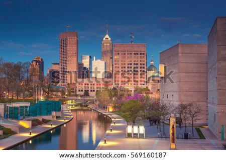 Indianapolis. Cityscape image of downtown Indianapolis, Indiana during twilight blue hour.