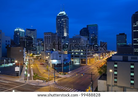 Indianapolis. Image of the Indianapolis skyline and streets during twilight blue hour.
