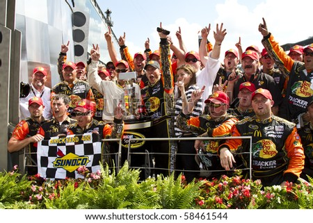 INDIANAPOLIS, IN - JULY 25:  Jamie McMurray wins the Brickyard 400 race at the Indianapolis Motor Speedway on July 25, 2010 in Indianapolis, IN .