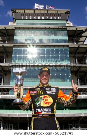 INDIANAPOLIS, IN - JULY 25:  Jamie McMurray wins the Brickyard 400 race at the Indianapolis Motor Speedway on July 25, 2010 in Indianapolis, IN.