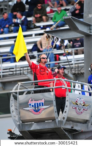 Auto Racing  Rules  Yellow Flag on Indianapolis  In   May 9  Flag Man Of Indy 500 Waves Yellow Flag