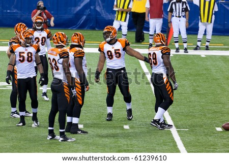 INDIANAPOLIS, IN - SEPT 2: Cincinnati Bengals prepare for line-up during football game between Indianapolis Colts and Cincinnati Bengals on September 2, 2010 in Indianapolis, IN