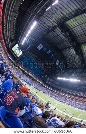 INDIANAPOLIS, IN - SEPT 2: Fisheye view of interior of Lucas Oil Stadium during football game between Indianapolis Colts and Cincinnati Bengals on September 2, 2010 in Indianapolis, IN - stock photo