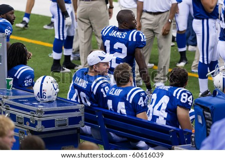 INDIANAPOLIS, IN - SEPT 2: Peyton Manning, Indianapolis Colts quarterback watches the game between Indianapolis Colts and Cincinnati Bengals on September 2, 2010 in Indianapolis, IN