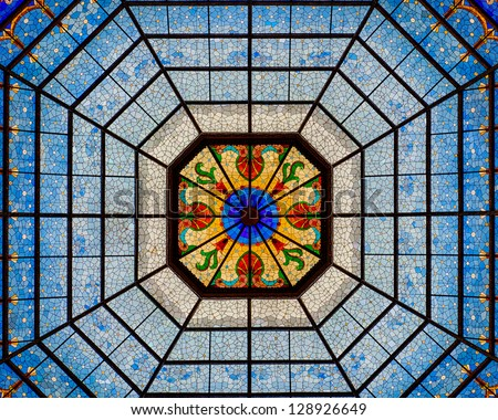 INDIANAPOLIS, INDIANA - FEBRUARY 19: Stained glass of the interior of the dome of the Indiana Statehouse (Capitol) on February 19, 2013 in Indianapolis, Indiana