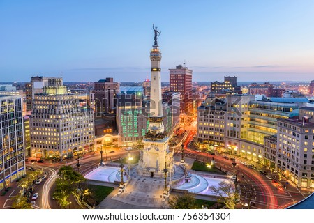 Shutterstock Indianapolis, Indiana, USA skyline over Monument Circle.