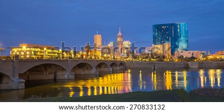 Indianapolis skyline and the White River at twilight