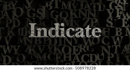 Indicate - Stock image of 3D rendered metallic typeset headline illustration.  Can be used for an online banner ad or a print postcard.
