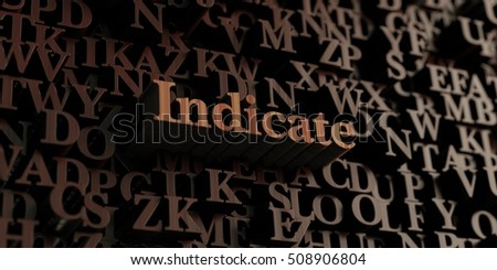 Indicate - Wooden 3D rendered letters/message.  Can be used for an online banner ad or a print postcard.