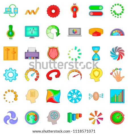 Indication icons set. Cartoon style of 36 indication icons for web isolated on white background