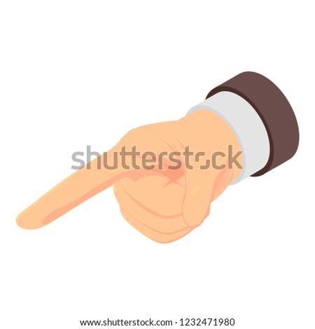 Indicator finger icon. Isometric of indicator finger icon for web design isolated on white background