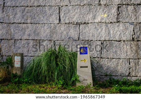 Indicator sign of the Camino de Santiago, in the vicinity of the town of Pontevedra (Spain) Foto d'archivio ©