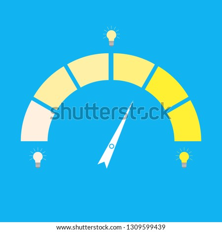 Indices rate idea lightbulb. Indicator creativity. Dull lamp and bright. idea meter, level kpi or credit score interface illustration