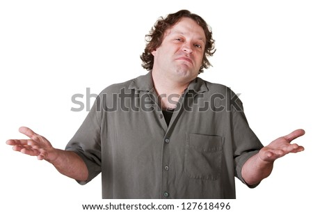 Indifferent young man with palms up over white background
