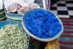 Indigo and spices at a shop in Marrakesh, Morocco
