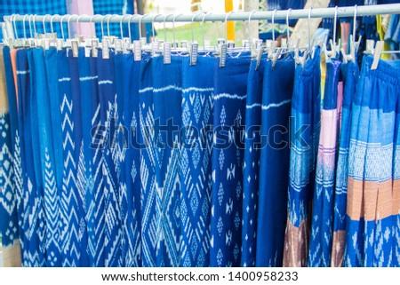 INDIGO,Indigo product,Indigo fabric with beautiful patterns,The pattern of indigo cloth which is unique to Thailand #1400958233