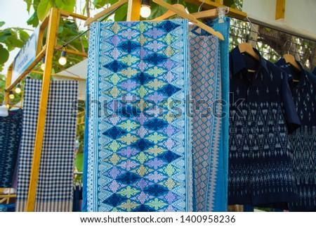 INDIGO,Indigo product,Indigo fabric with beautiful patterns,The pattern of indigo cloth which is unique to Thailand #1400958236
