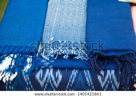 INDIGO,Indigo product,Indigo fabric with beautiful patterns,The pattern of indigo cloth which is unique to Thailand #1405421861