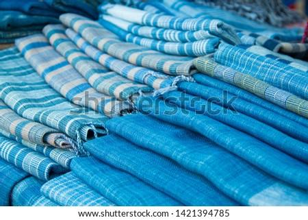 INDIGO,Indigo product,Indigo fabric with beautiful patterns,The pattern of indigo cloth which is unique to Thailand #1421394785