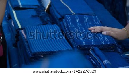 INDIGO,Indigo product,Indigo fabric with beautiful patterns,The pattern of indigo cloth which is unique to Thailand #1422276923