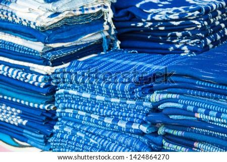 INDIGO,Indigo product,Indigo fabric with beautiful patterns,The pattern of indigo cloth which is unique to Thailand #1424864270