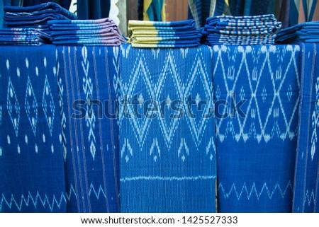 INDIGO,Indigo product,Indigo fabric with beautiful patterns,The pattern of indigo cloth which is unique to Thailand #1425527333