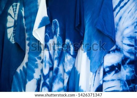 INDIGO,Indigo product,Indigo fabric with beautiful patterns,The pattern of indigo cloth which is unique to Thailand #1426371347
