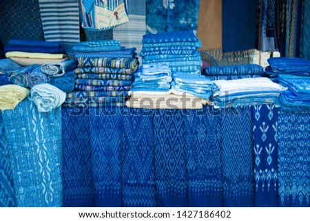 INDIGO,Indigo product,Indigo fabric with beautiful patterns,The pattern of indigo cloth which is unique to Thailand #1427186402