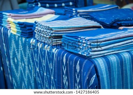 INDIGO,Indigo product,Indigo fabric with beautiful patterns,The pattern of indigo cloth which is unique to Thailand #1427186405