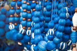 INDIGO ,Indigo thread,Necklace made from indigo fabric,The pattern of indigo cloth which is unique to Thailand