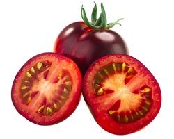 Indigo Rose heirloom tomato, ripe anthocyanin-rich fruit, isolated